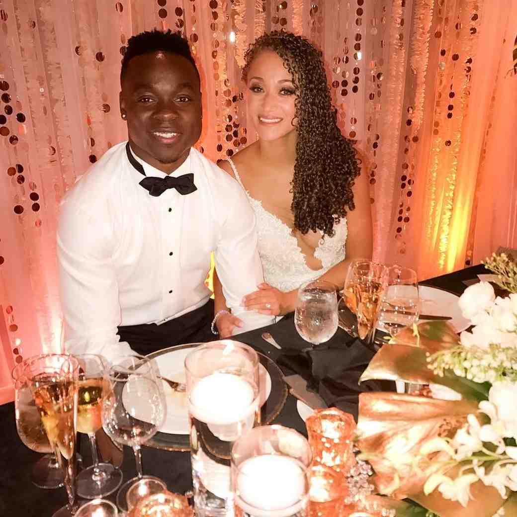NFL player Jeremy Maclin and Adia Kuzma on their wedding day