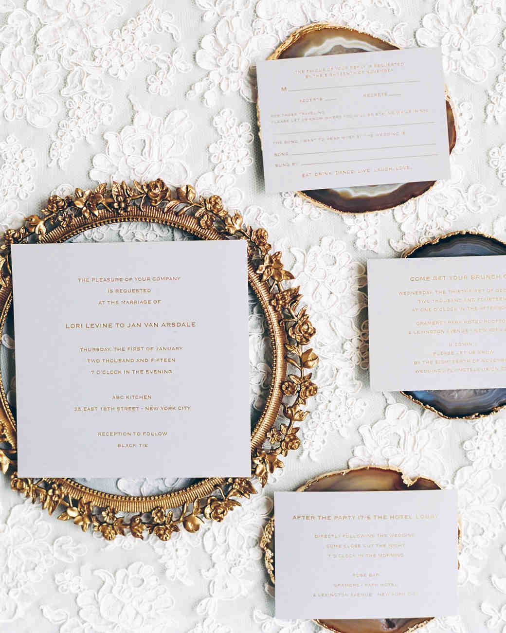 Wedding Invitations on Agate Slabs