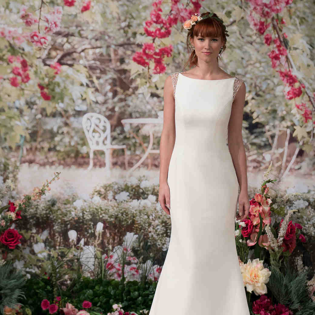 Maggie Sottero Fall 2017 Sheath Wedding Dress with Beaded Cap Sleeves