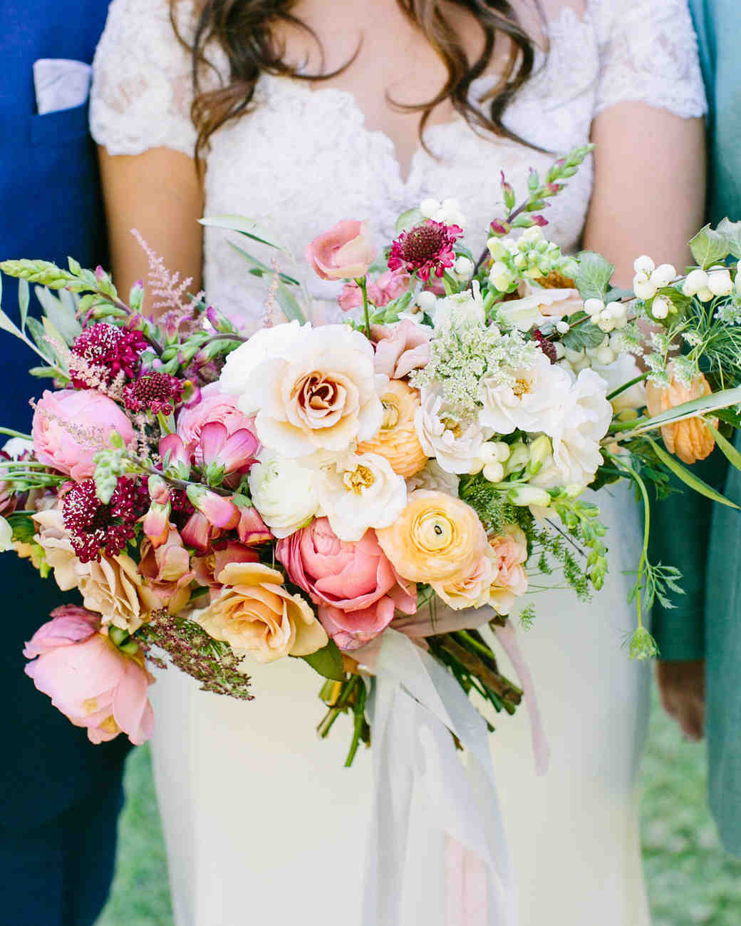 Pastel Bouquet with Orange Ranunculus and Pink Peonies