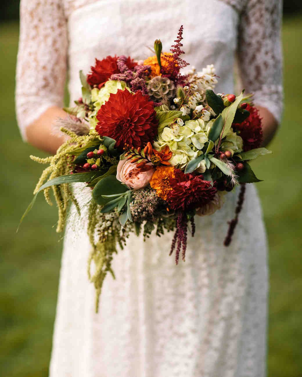 Red, Orange, and Green Fall-Themed Bridal Bouquet