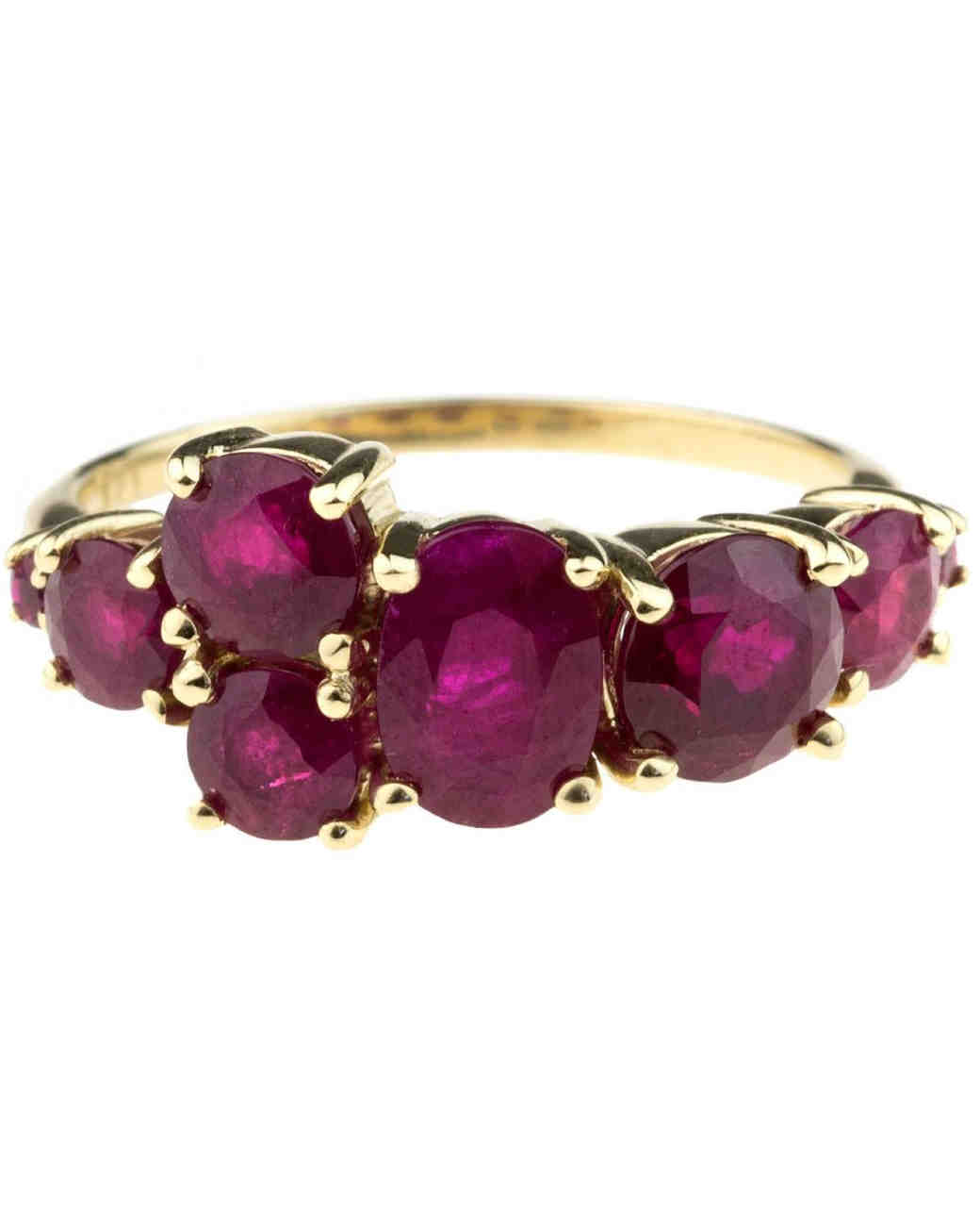 Bario Neal Ruby Cluster Engagement Ring