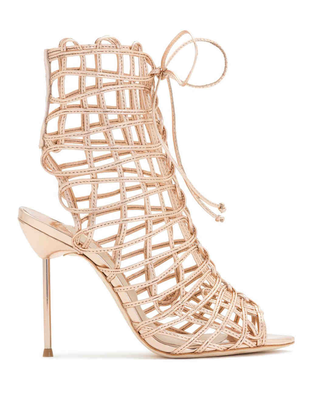 cut-out lace-up nude booties