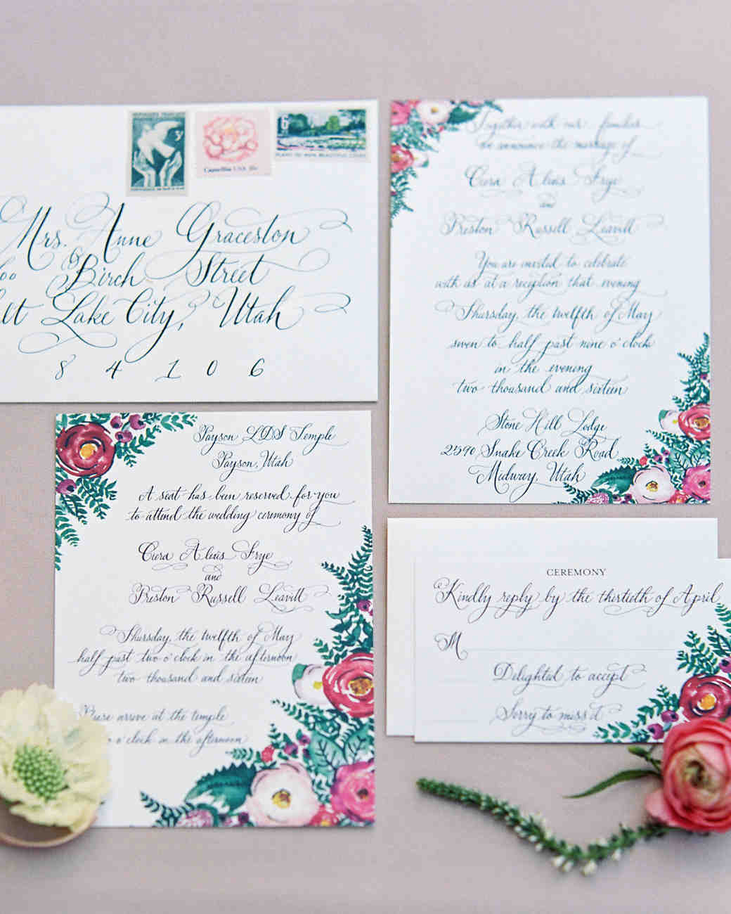 Utah Wedding Invitations: An Outdoorsy Couple Gets Hitched In The Mountains Of Utah