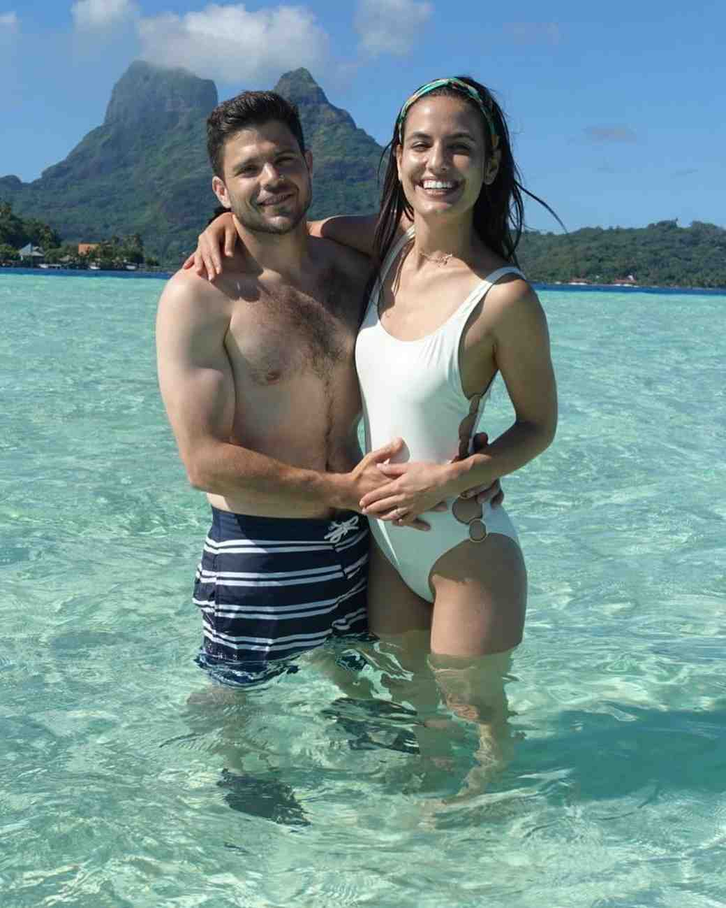 Jerry Ferrara and Breanne Racano on Bora Bora honeymoon