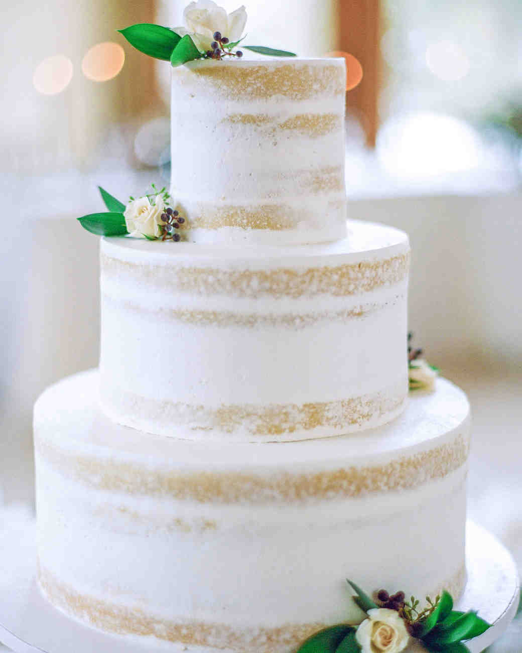 Naked White Wedding Cake