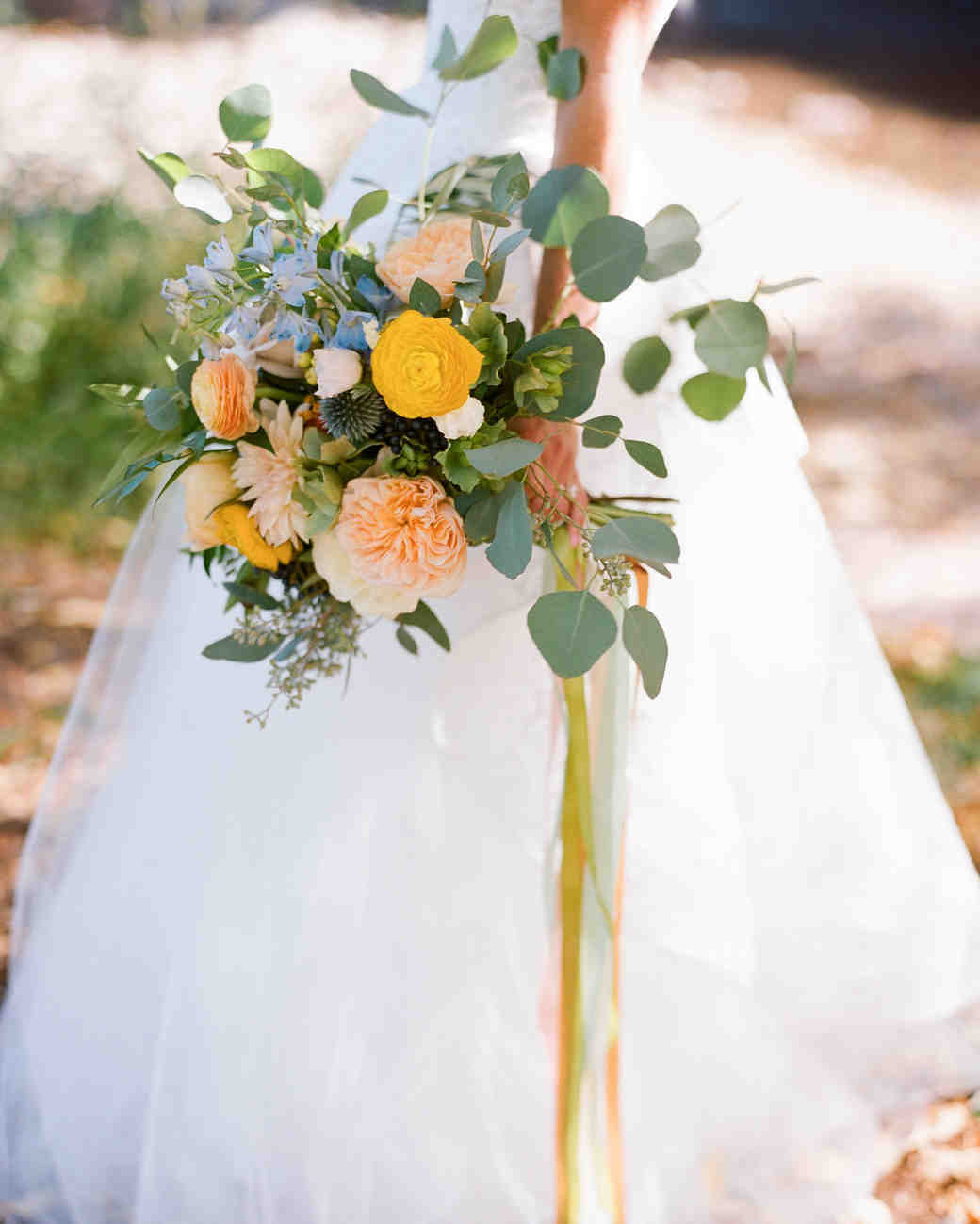 Yellow Ribbon-Tied Wedding Bouquet