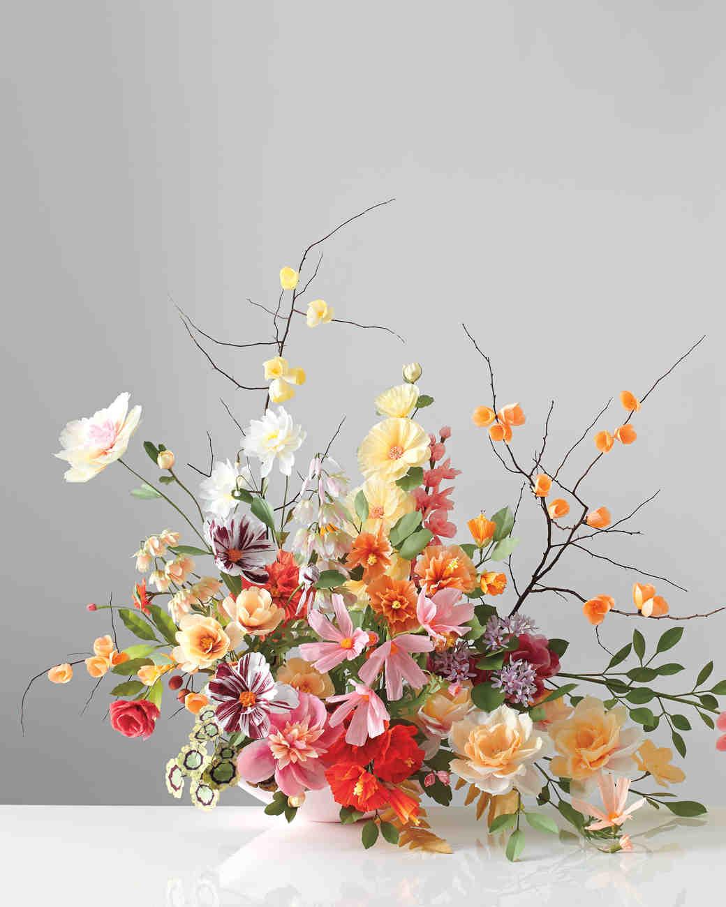 How To Make Paper Flower Leaves Martha Stewart Weddings