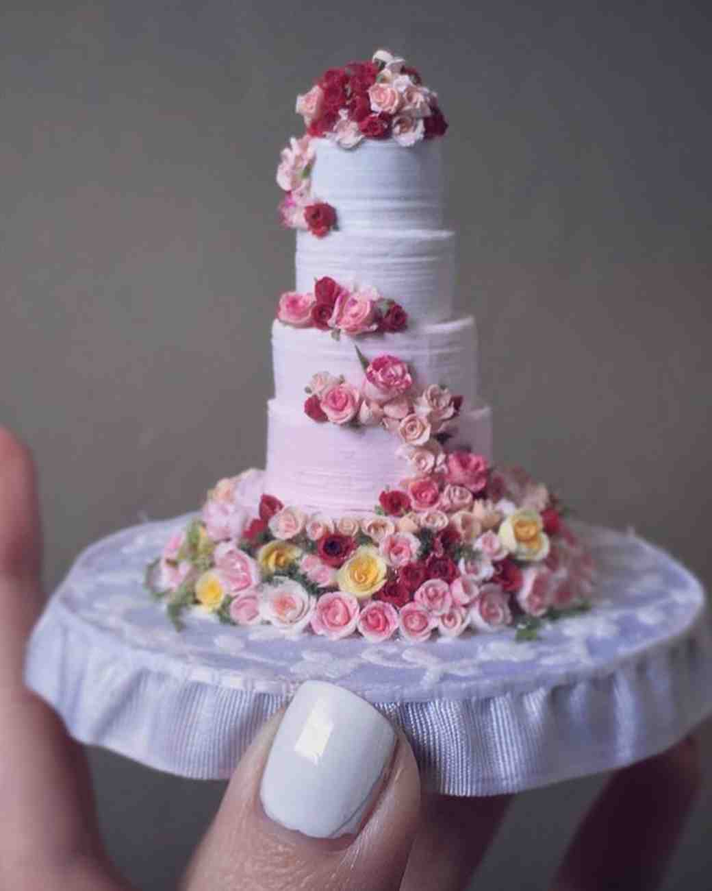 miniature rose covered cake
