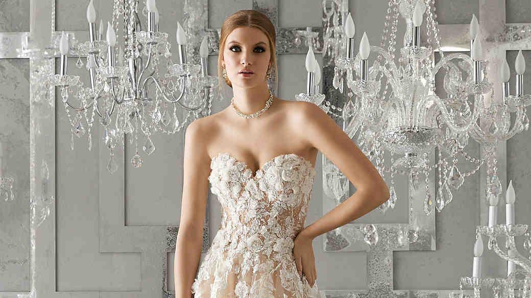 morilee wedding dress spring 2018 sweetheart trailing floral embellishments