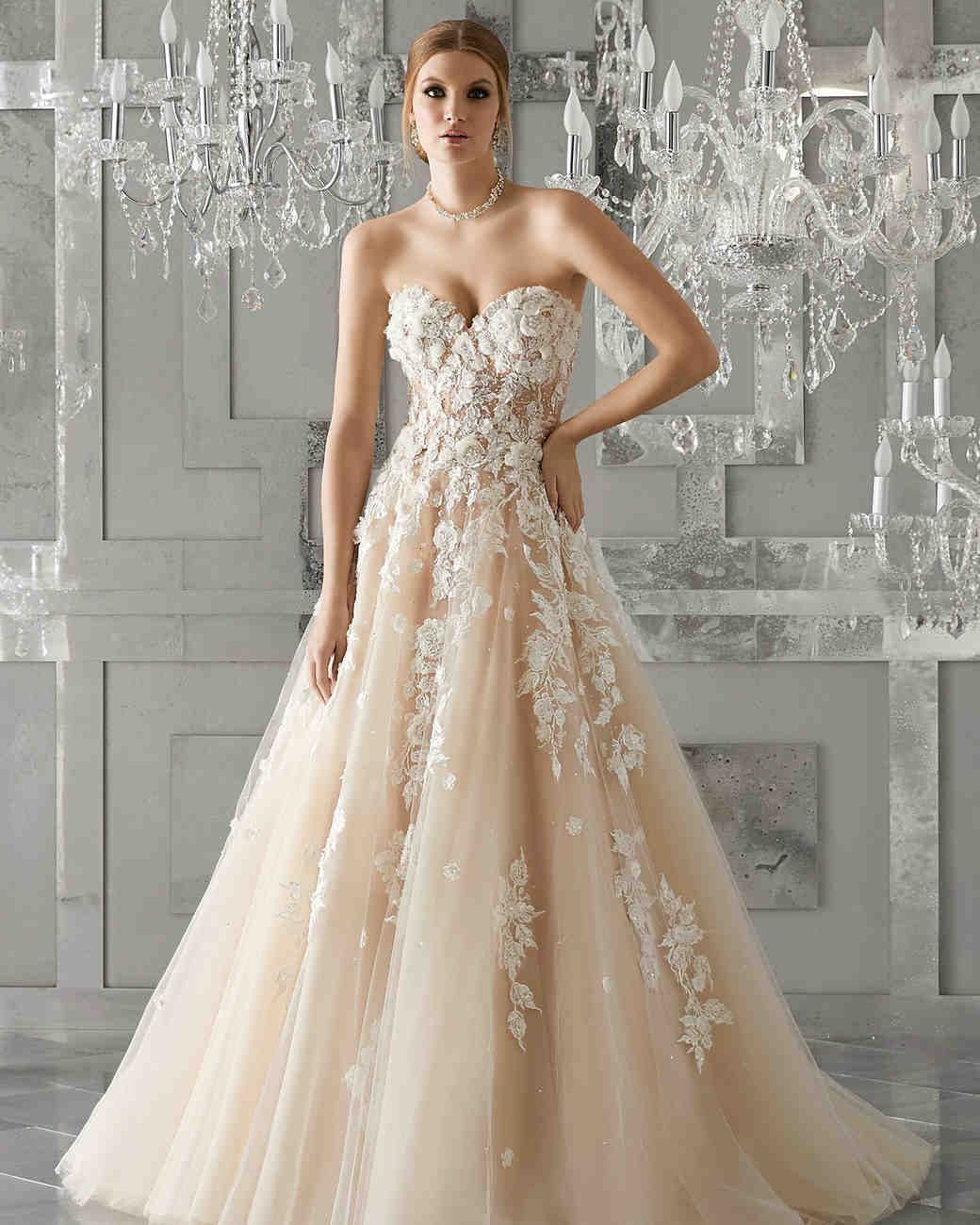 morilee wedding dress spring 2018 sweetheart trailing floral embellishments
