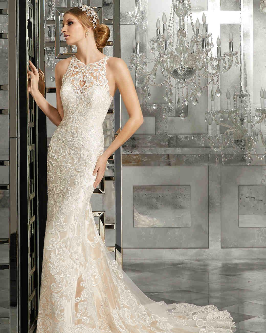 morilee wedding dress spring 2018 high neck embroidered sheath