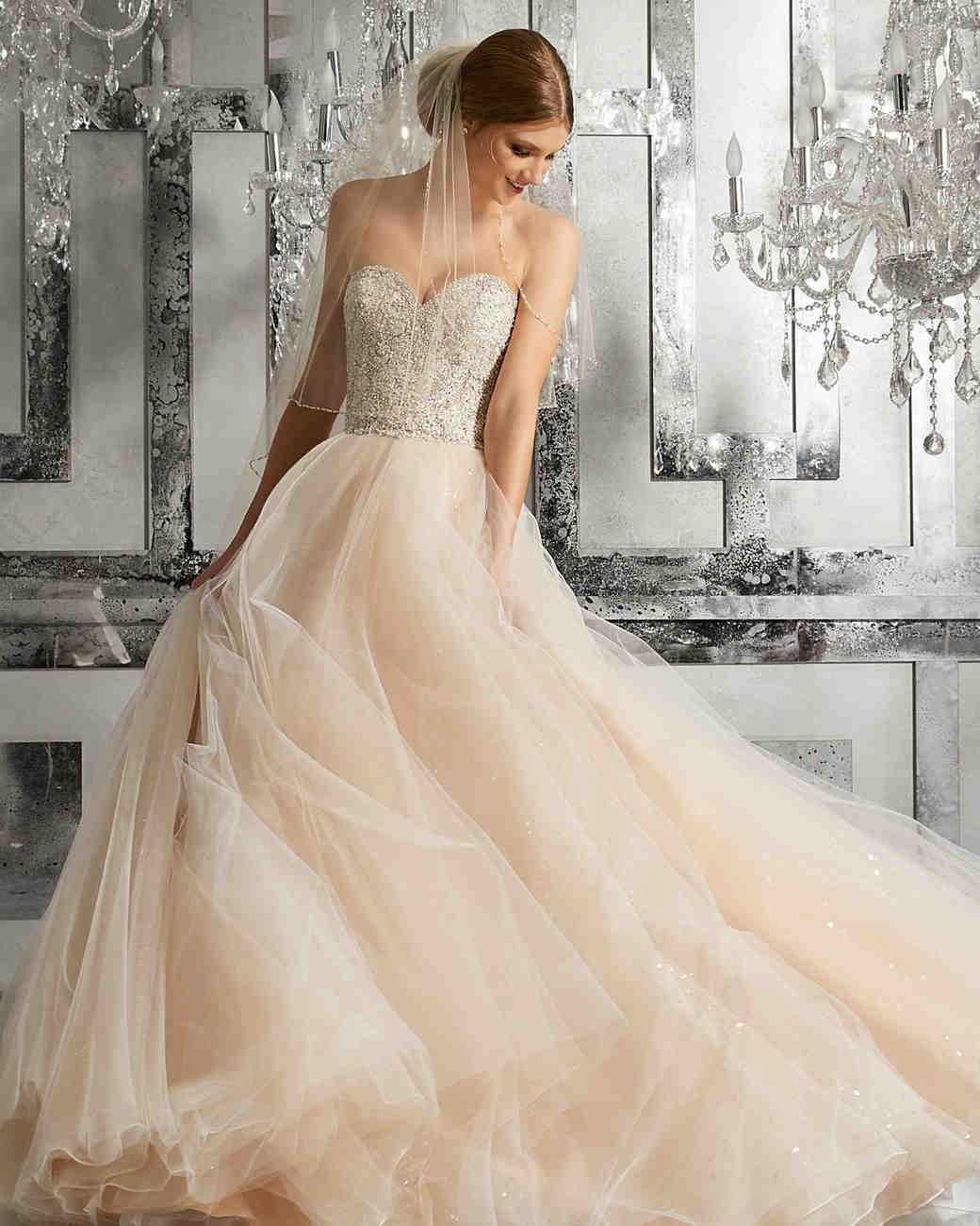 morilee wedding dress spring 2018 blush tulle skirt embellished bodice