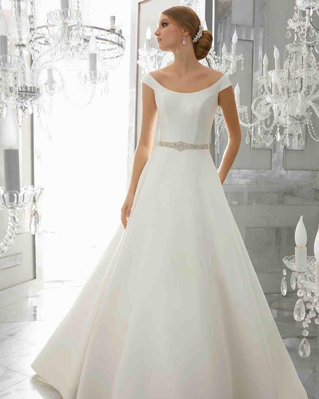morilee wedding dress spring 2018 belted scoop-neck a-line
