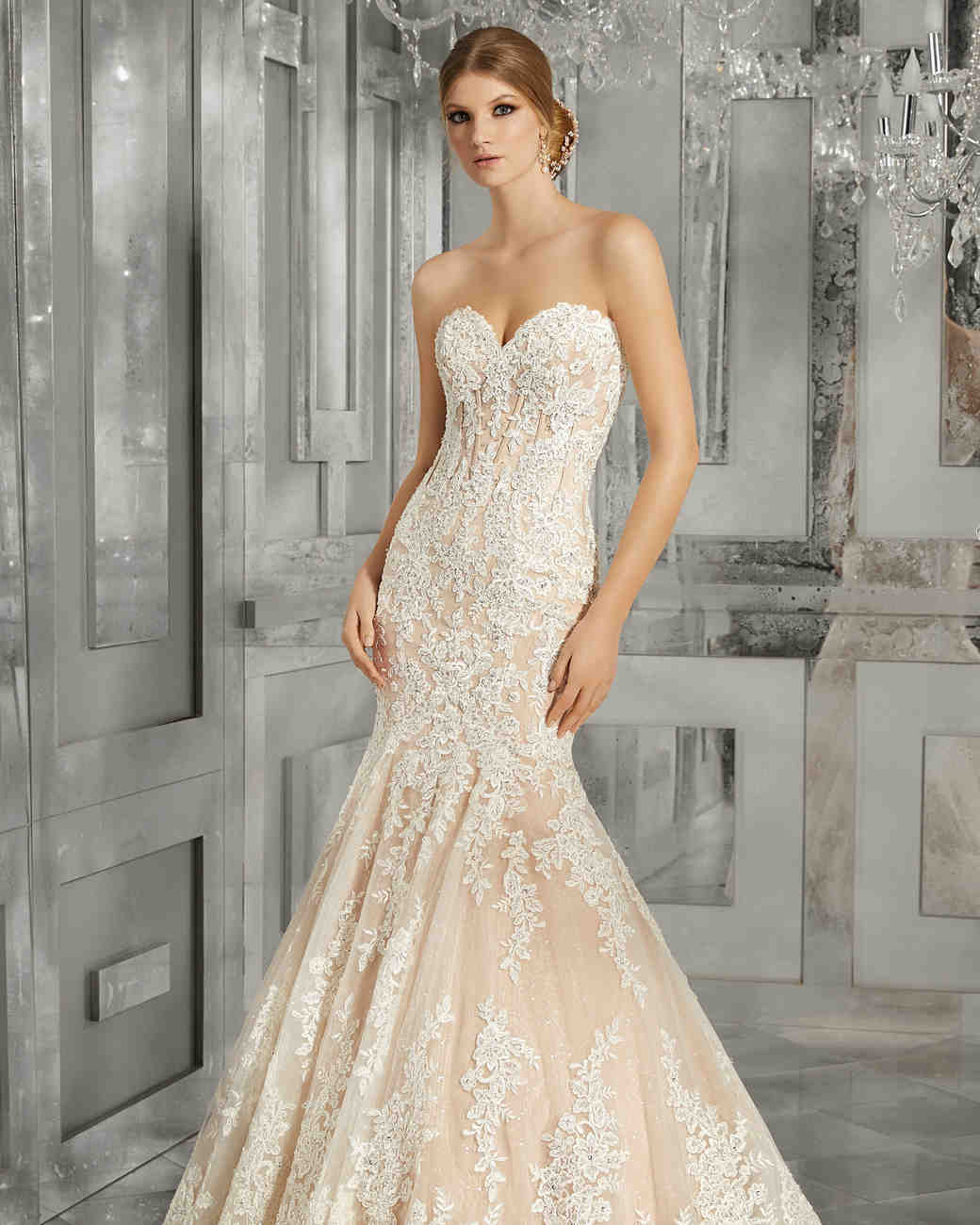 morilee wedding dress spring 2018 sweetheart blush lace trumpet