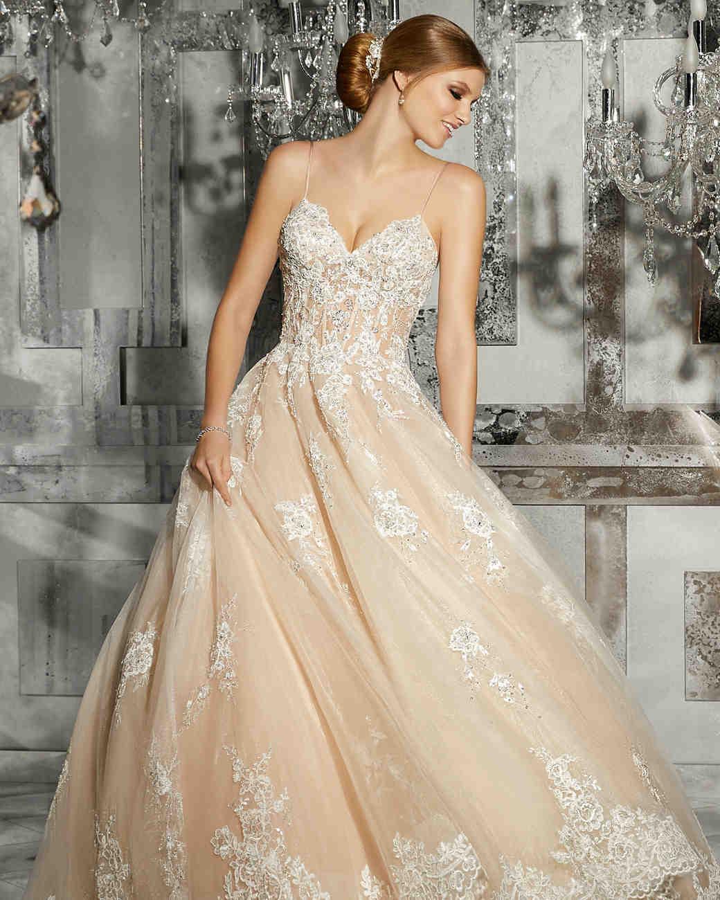 morilee wedding dress spring 2018 pink spaghetti strap embellished