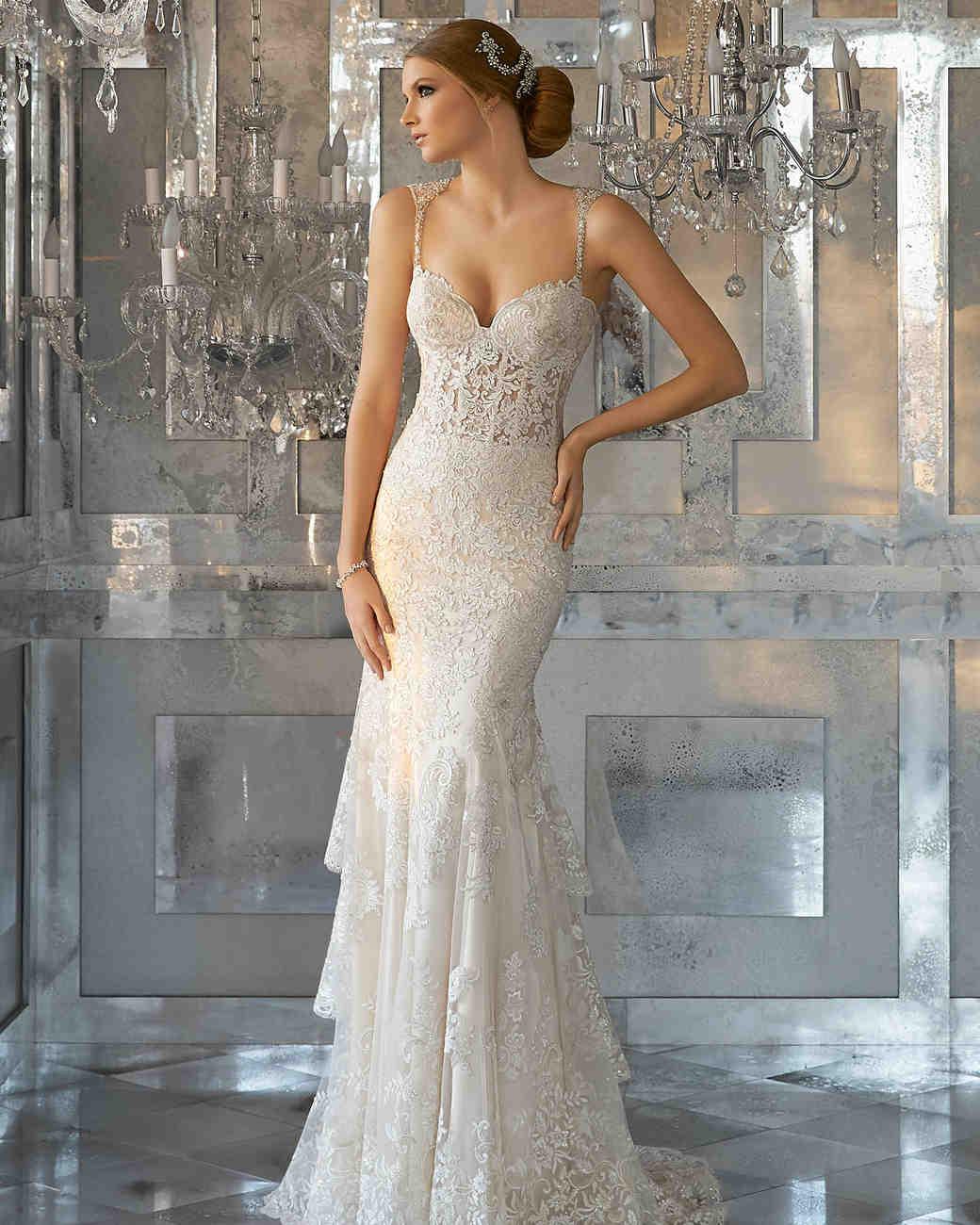 morilee wedding dress spring 2018 embellished straps tiered sheath