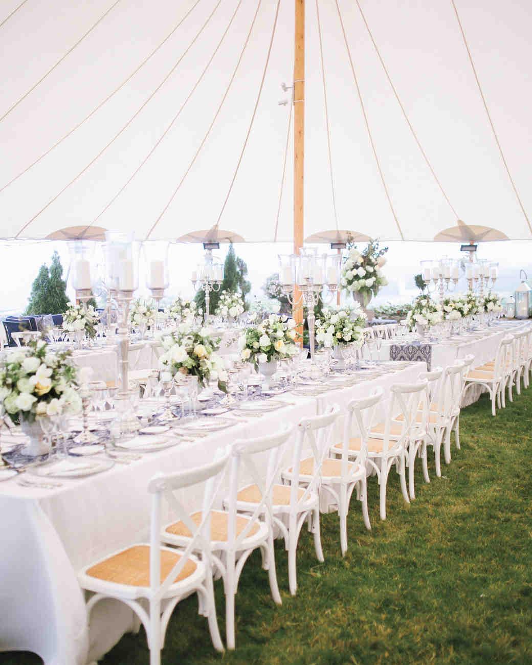 Elegant White Long Reception Tables
