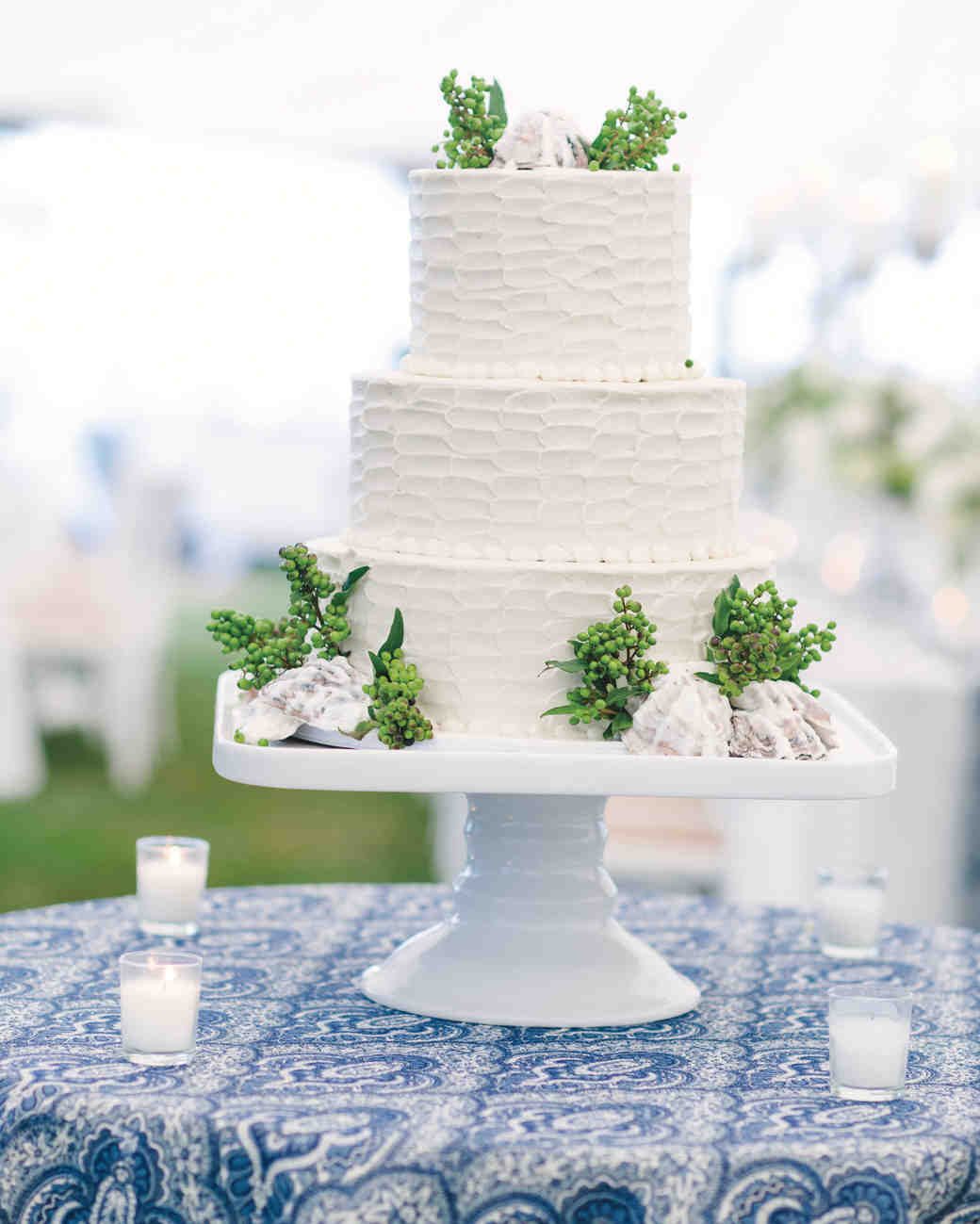 white beach wedding cake
