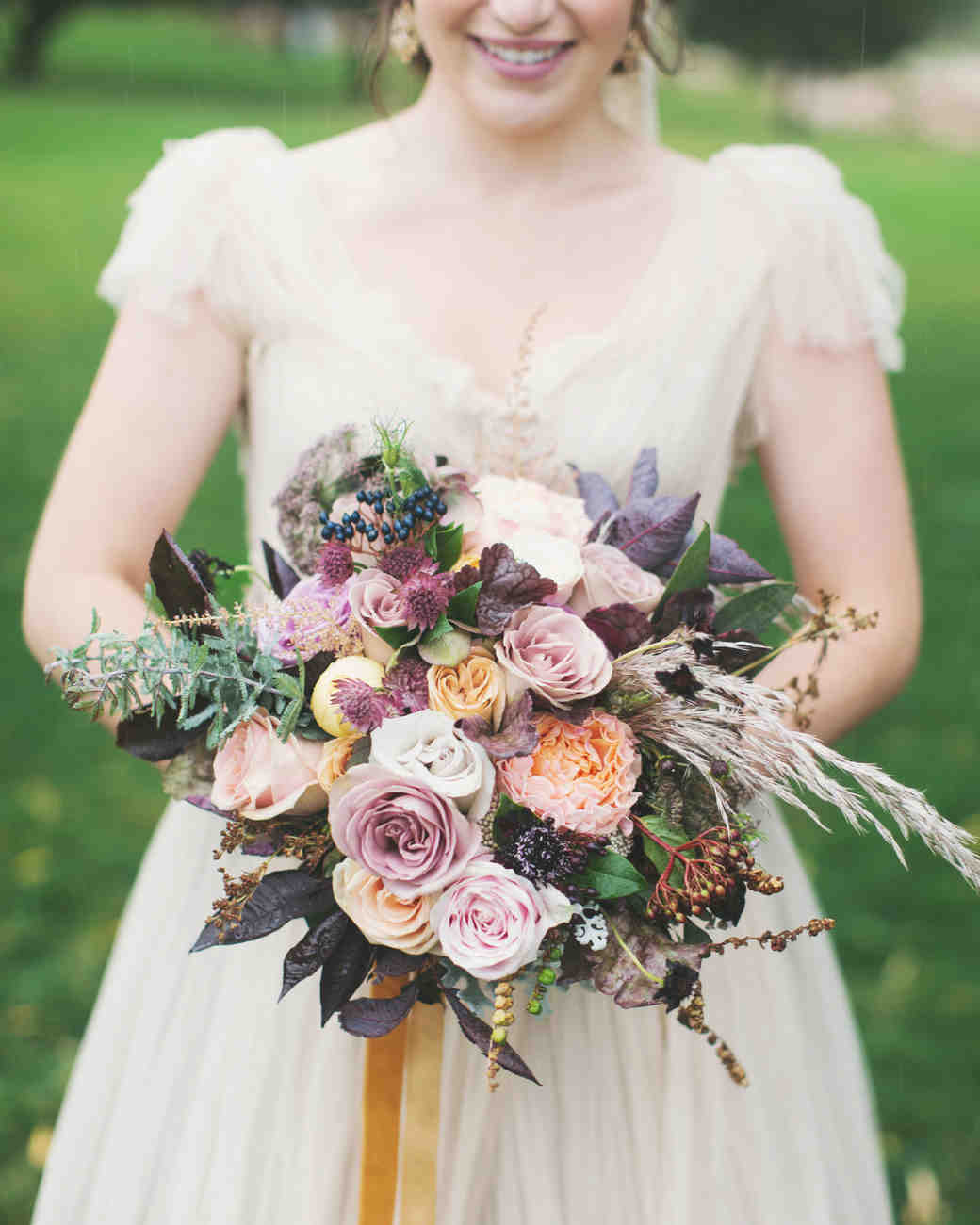 Muted Purple and Orange Wedding Bouquet