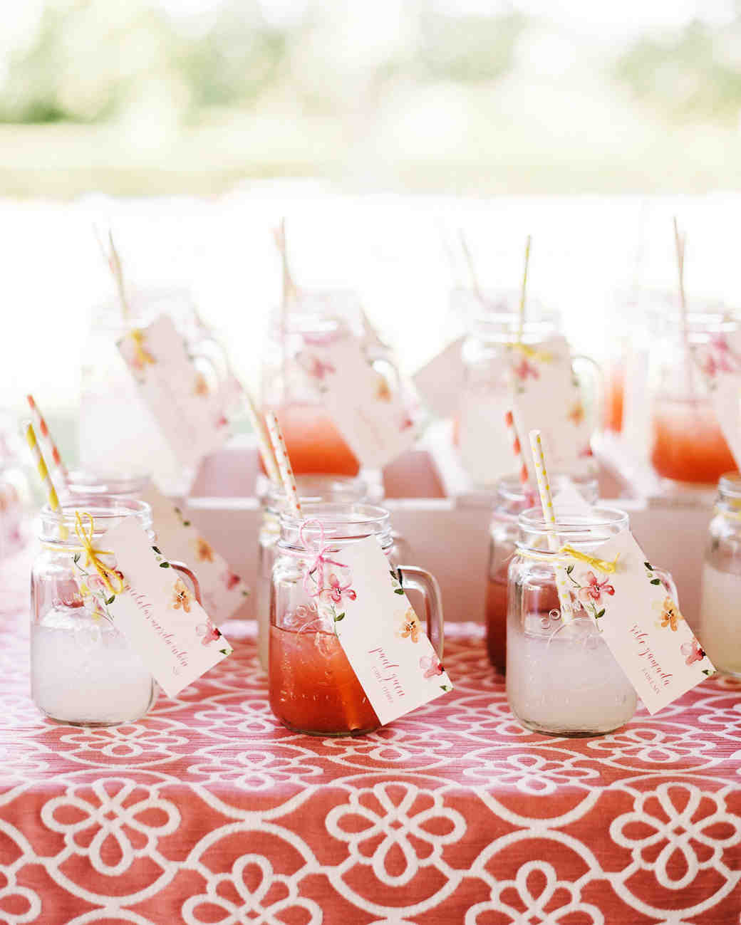 Mason jar wedding favors and signature cocktails