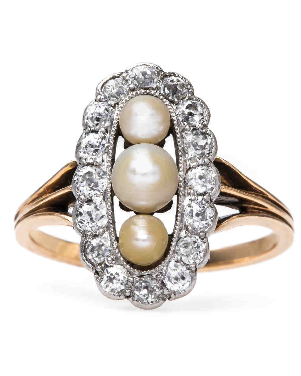 Trumpet & Horn Pearl Engagement Ring