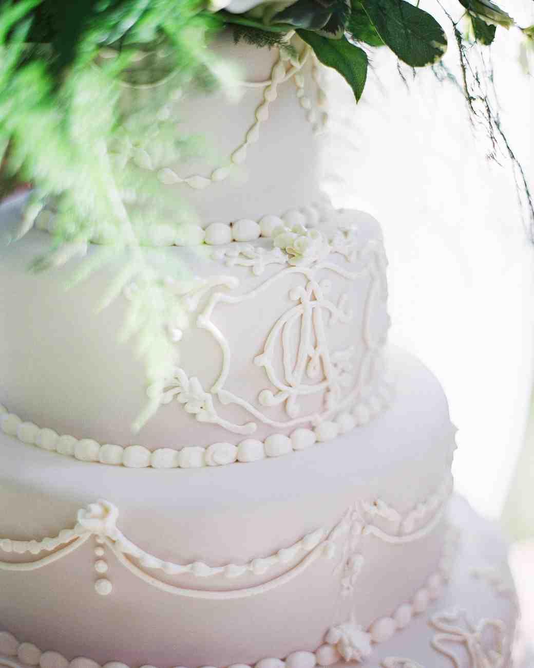 White Monogrammed Wedding Cake