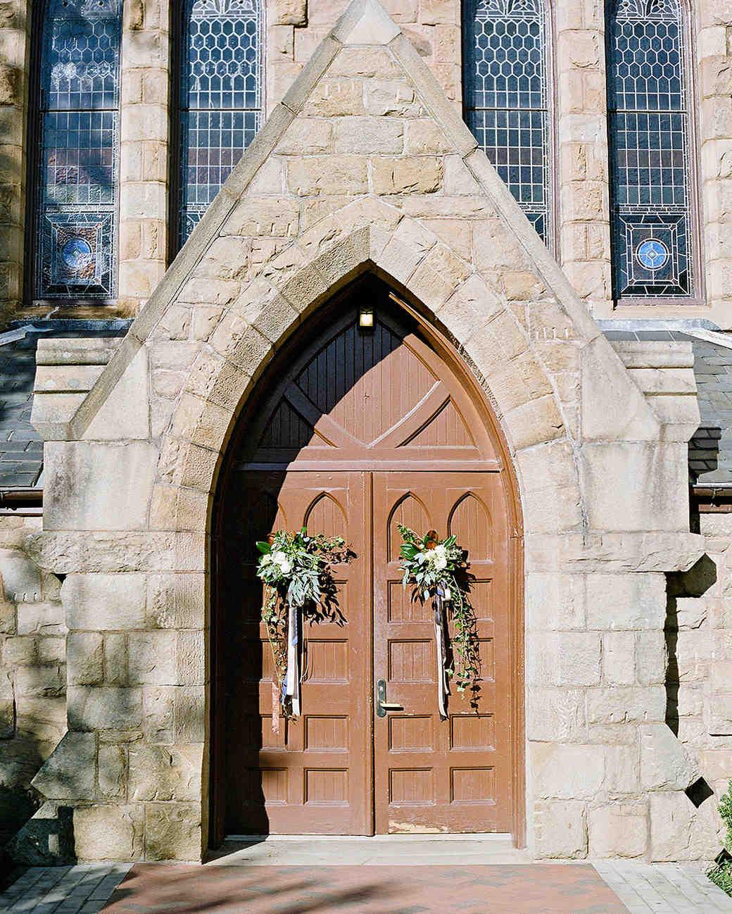 anne and staton wedding church doors