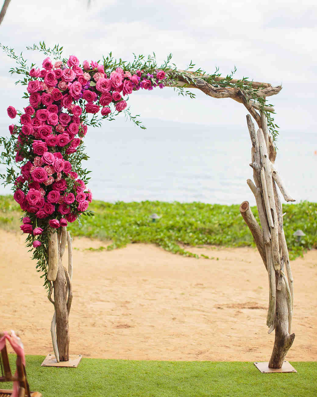 Bright Magenta and Driftwood Wedding Arch
