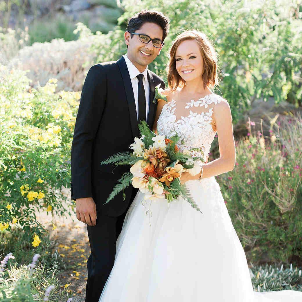 emily adhir wedding couple bouquet