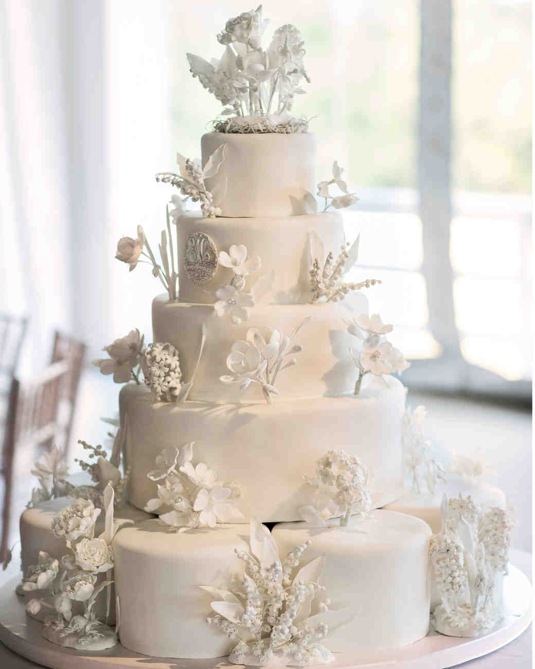 Five-Tiered White Wedding Cake with 3D Edible Hand-Crafted Flowers