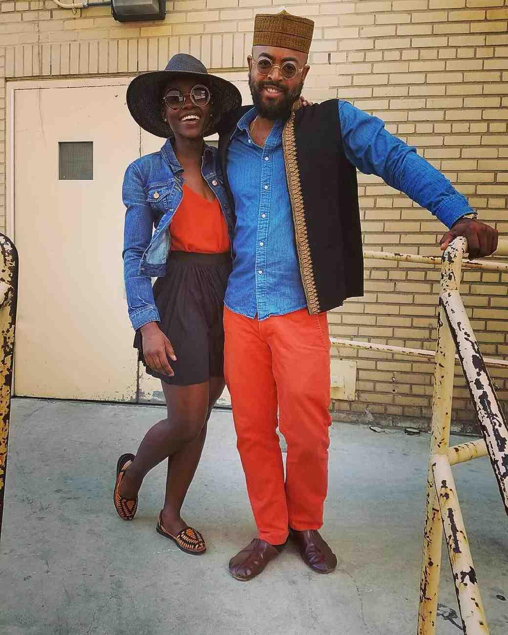 Lupita Nyong'o and Mobolaji Dawodu in Matching Outfits