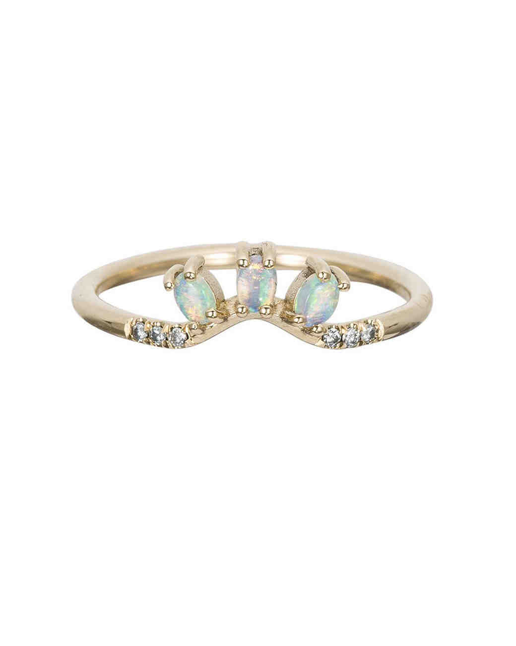 odd wedding band diamond opal trio ring - Wedding Band Rings