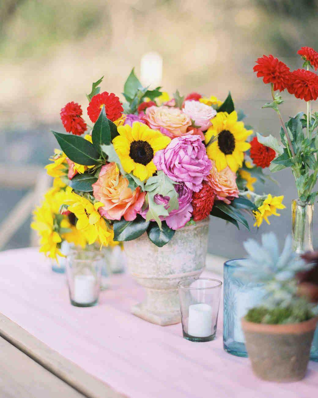Yellow sunflower summer wedding centerpiece