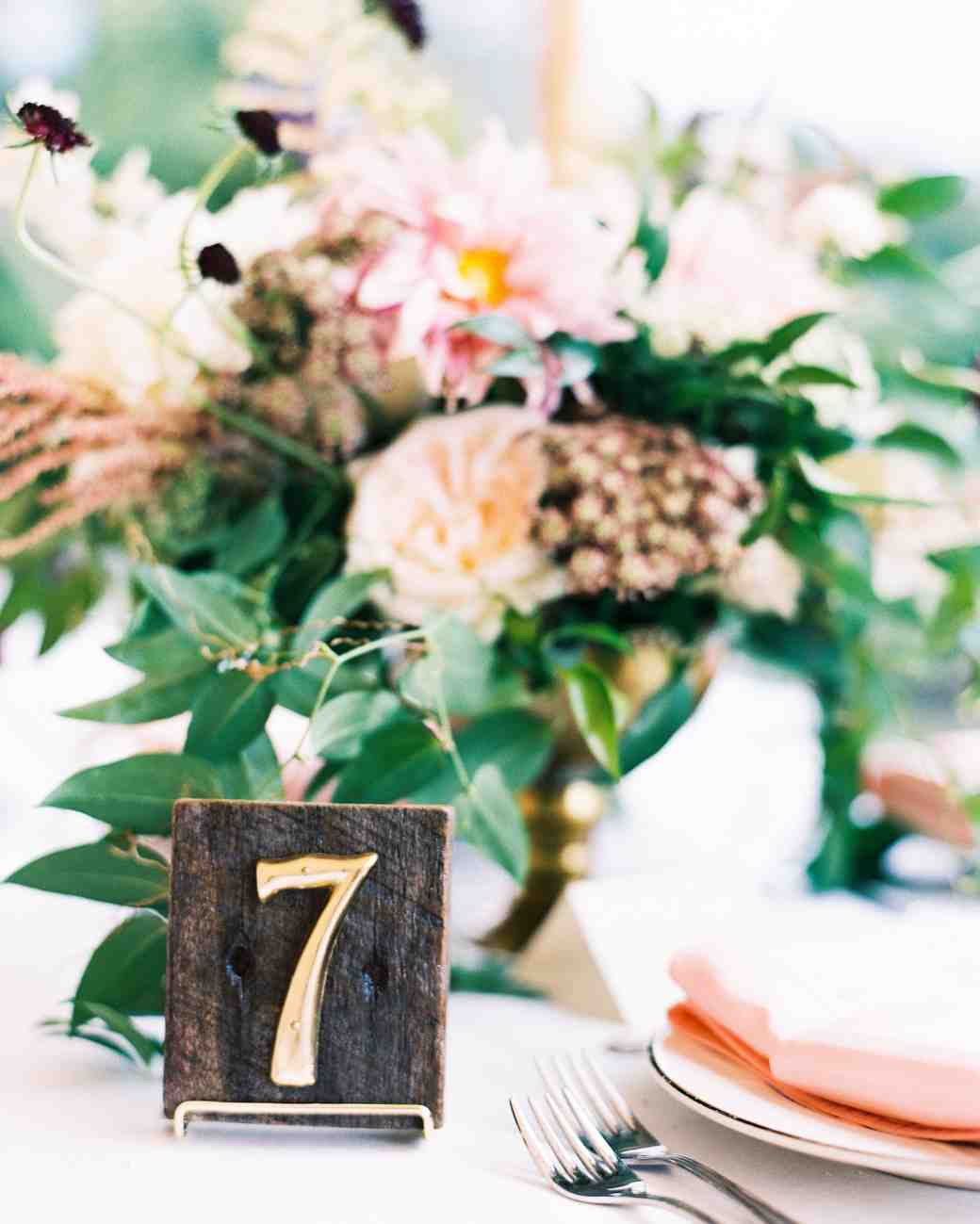 Elegant rustic table numbers with dark wood and brass numbers