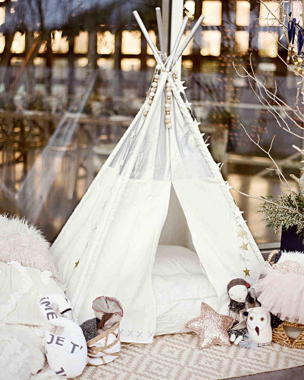 white tipi wedding