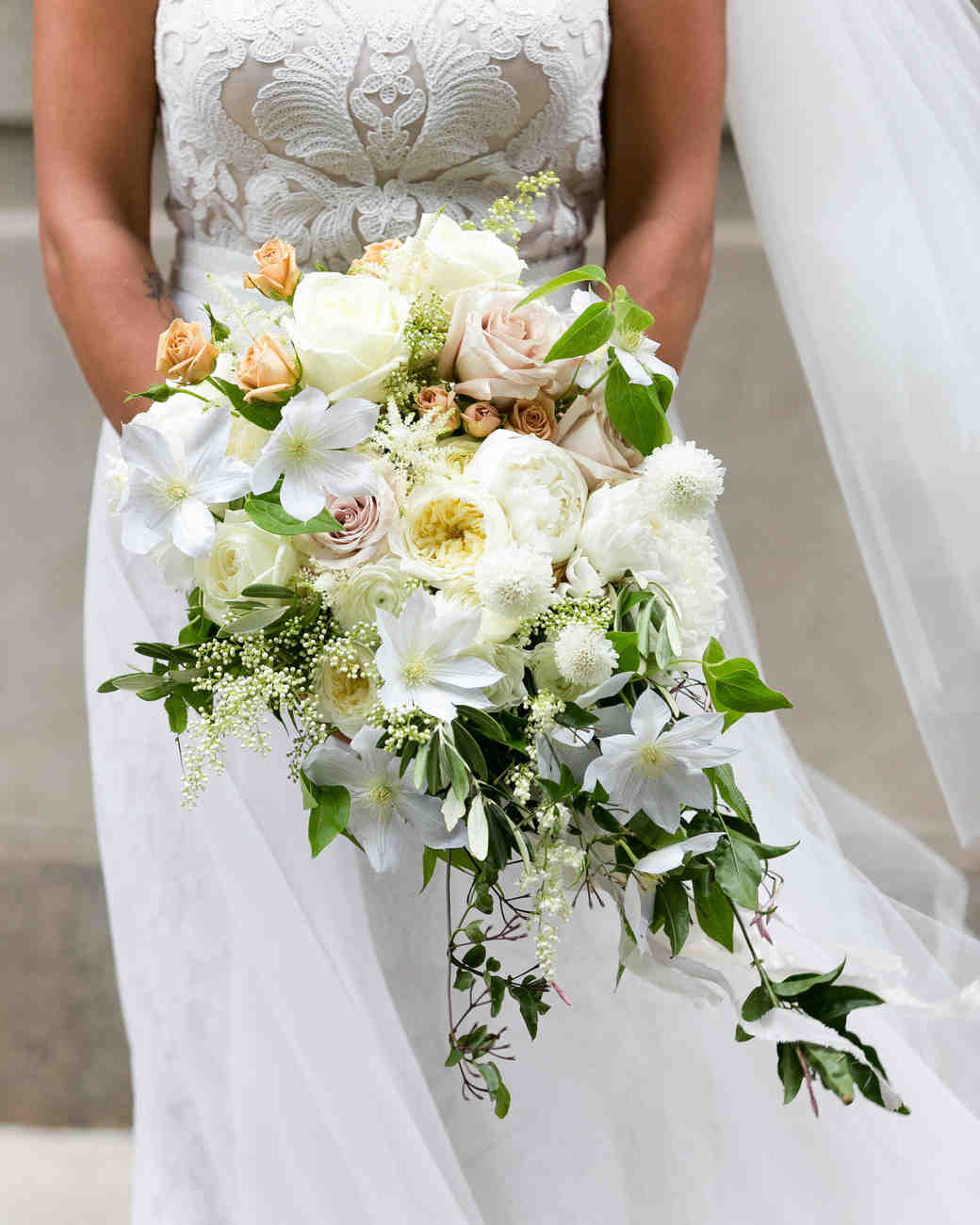 Cascading White Wedding Bouquet