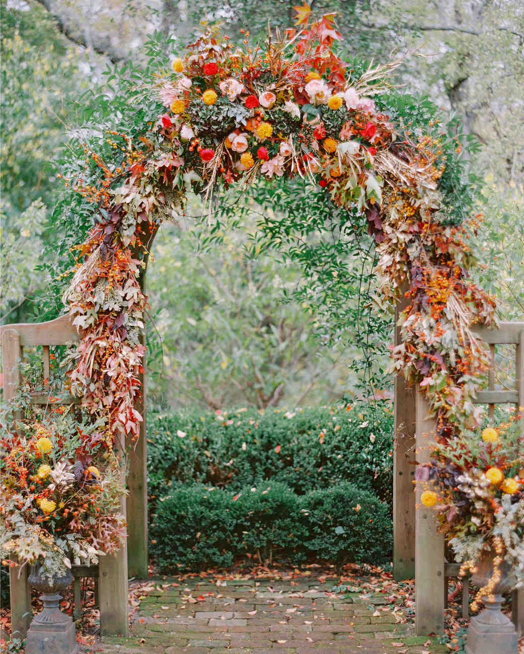 Autumnal Wedding Arch with Fall Foliage
