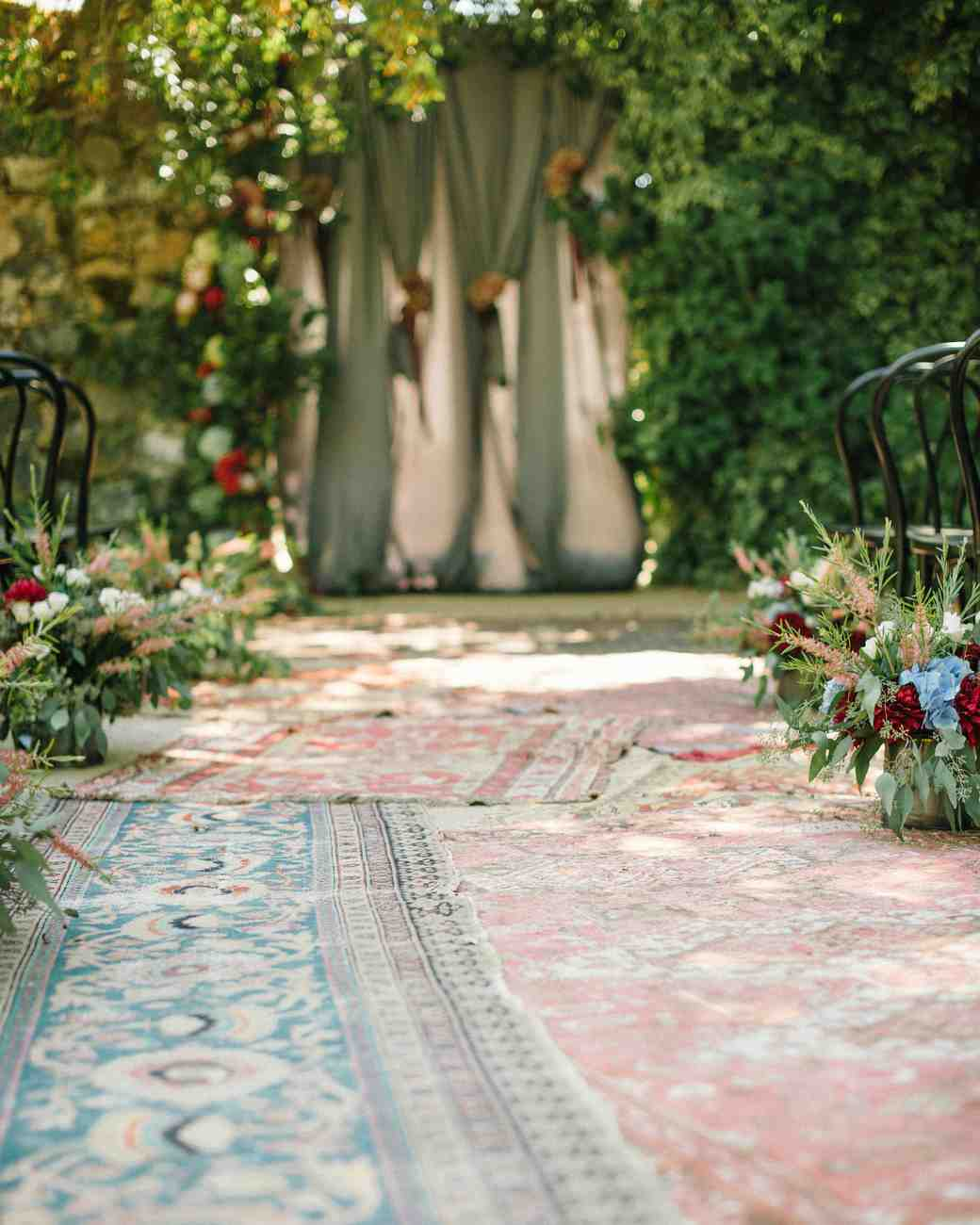Ceremony Aisle with Assorted Rugs