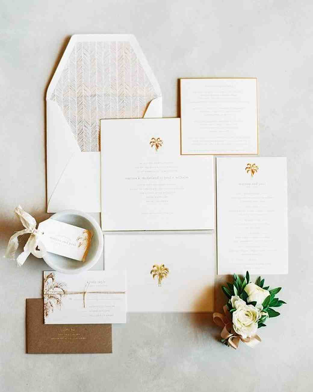 Beautiful Classic Wedding Invitation With Palm Trees