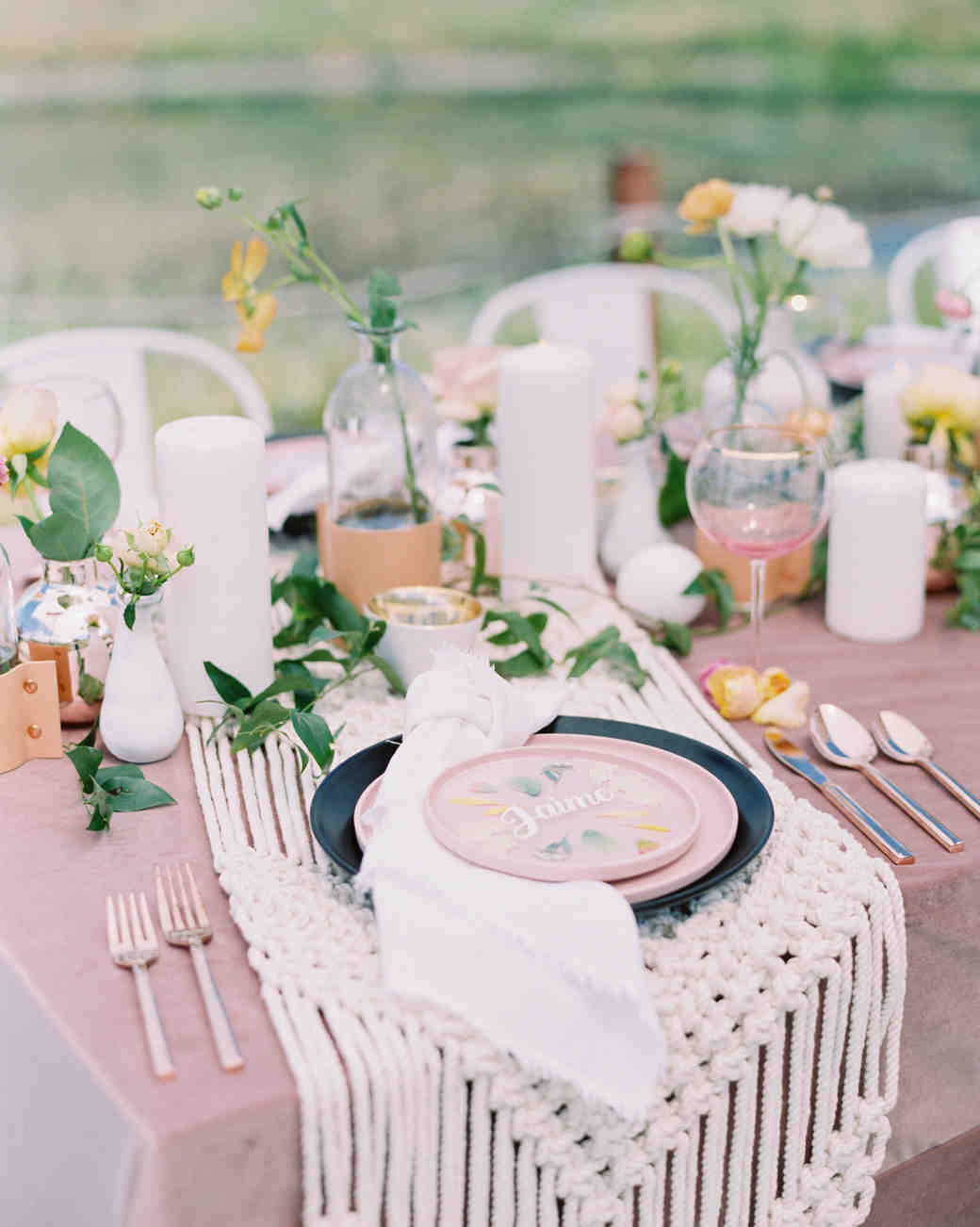Cluster Centerpieces in Clear Vases on Boho Table
