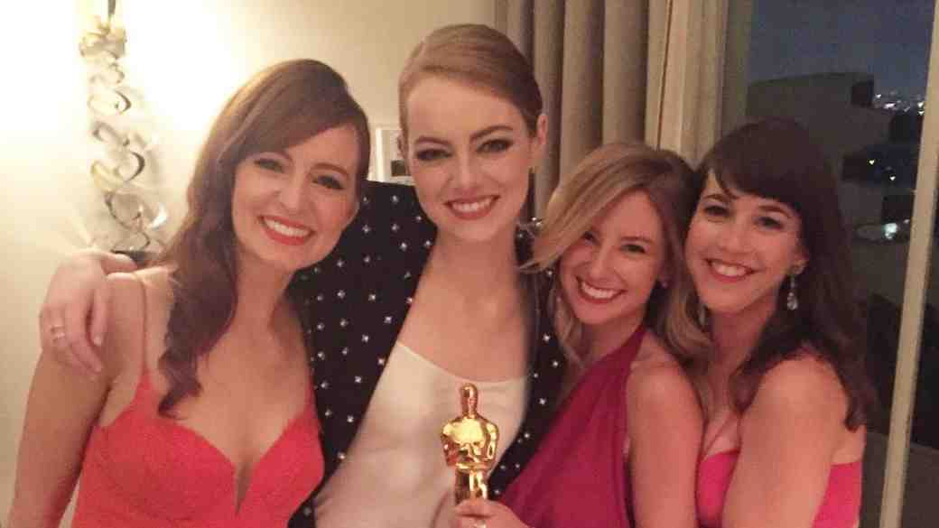 Emma Stone with friends at Oscars