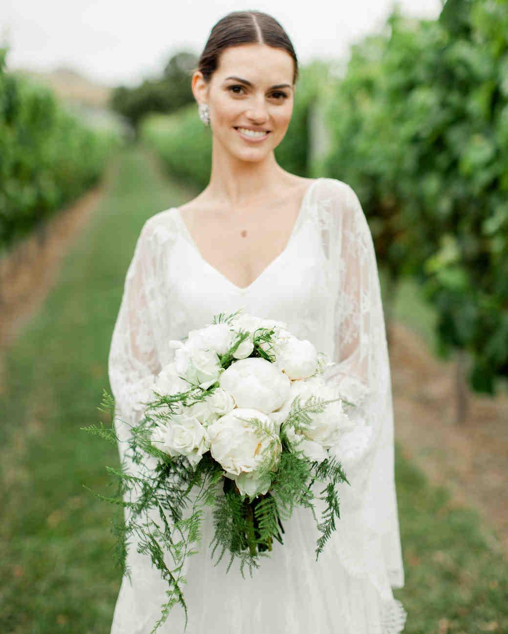 fern Wedding Bouquet with Peonies