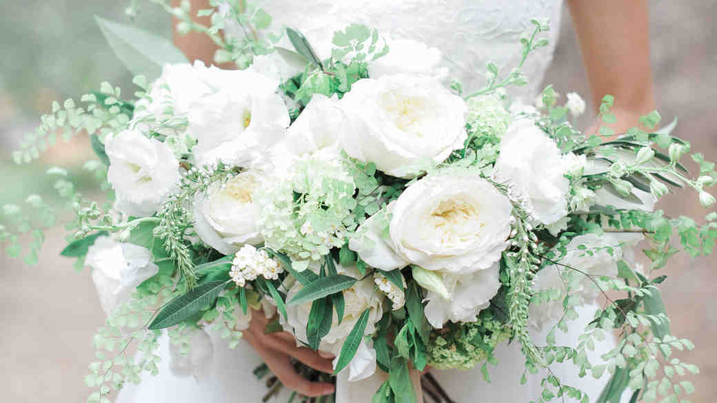 Fern Wedding Bouquet with Roses