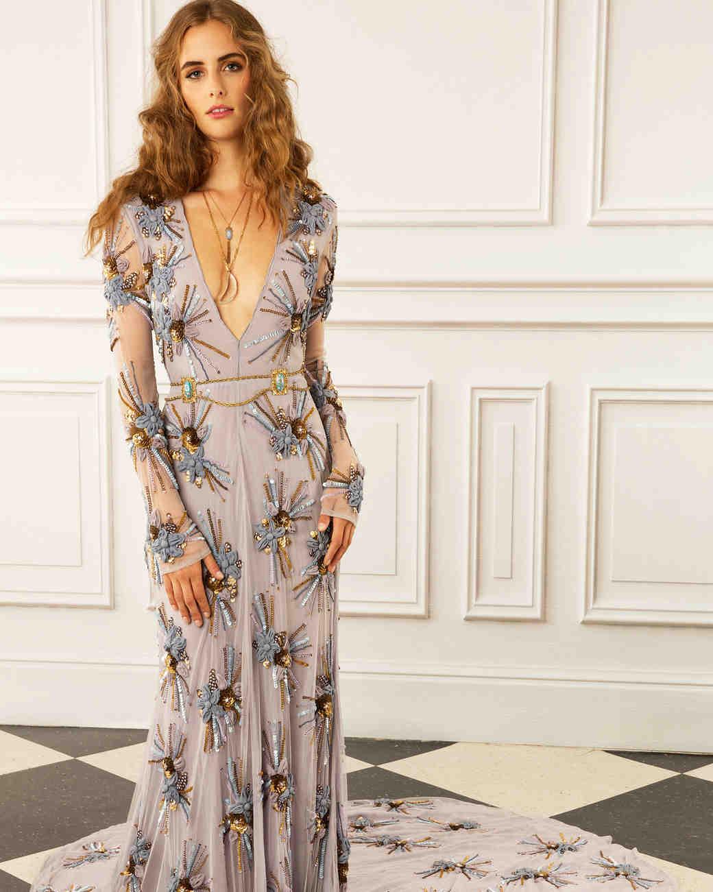 maria korovilas wedding dress spring 2017 deep v long sleeves pattern
