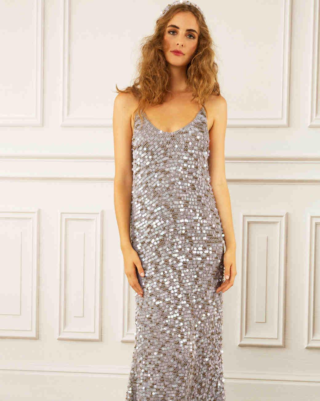 maria korovilas wedding dress spring 2017 silver metallic long