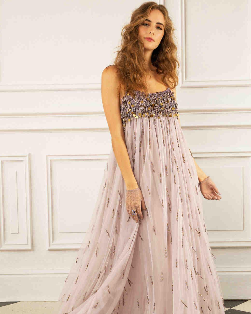 maria korovilas wedding dress spring 2017 rose gold sequin metallic