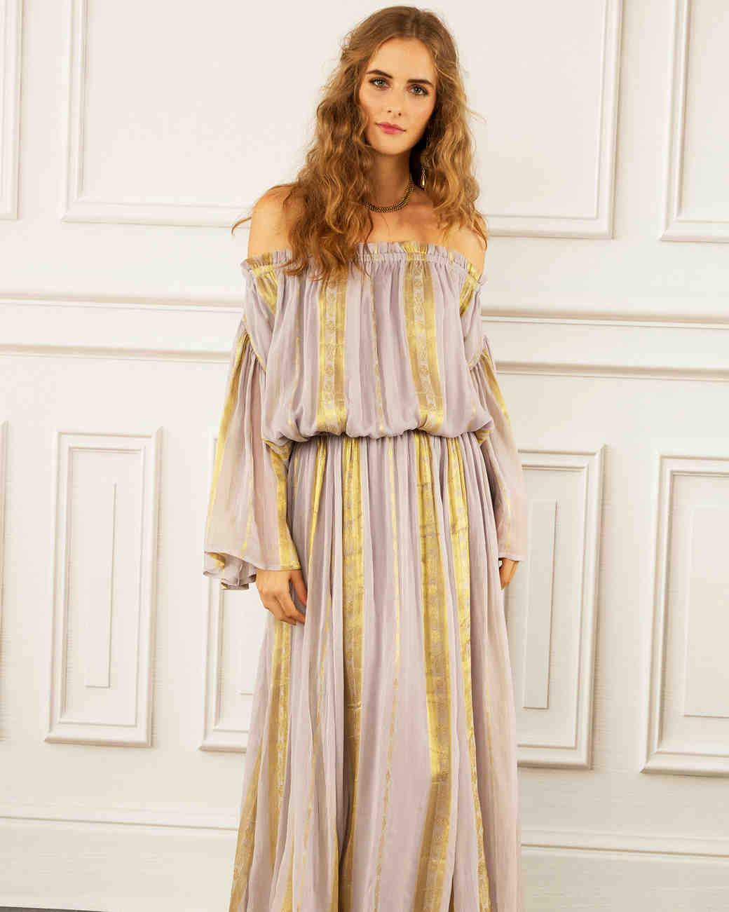 maria korovilas wedding dress spring 2017 off the shoulder, stripes