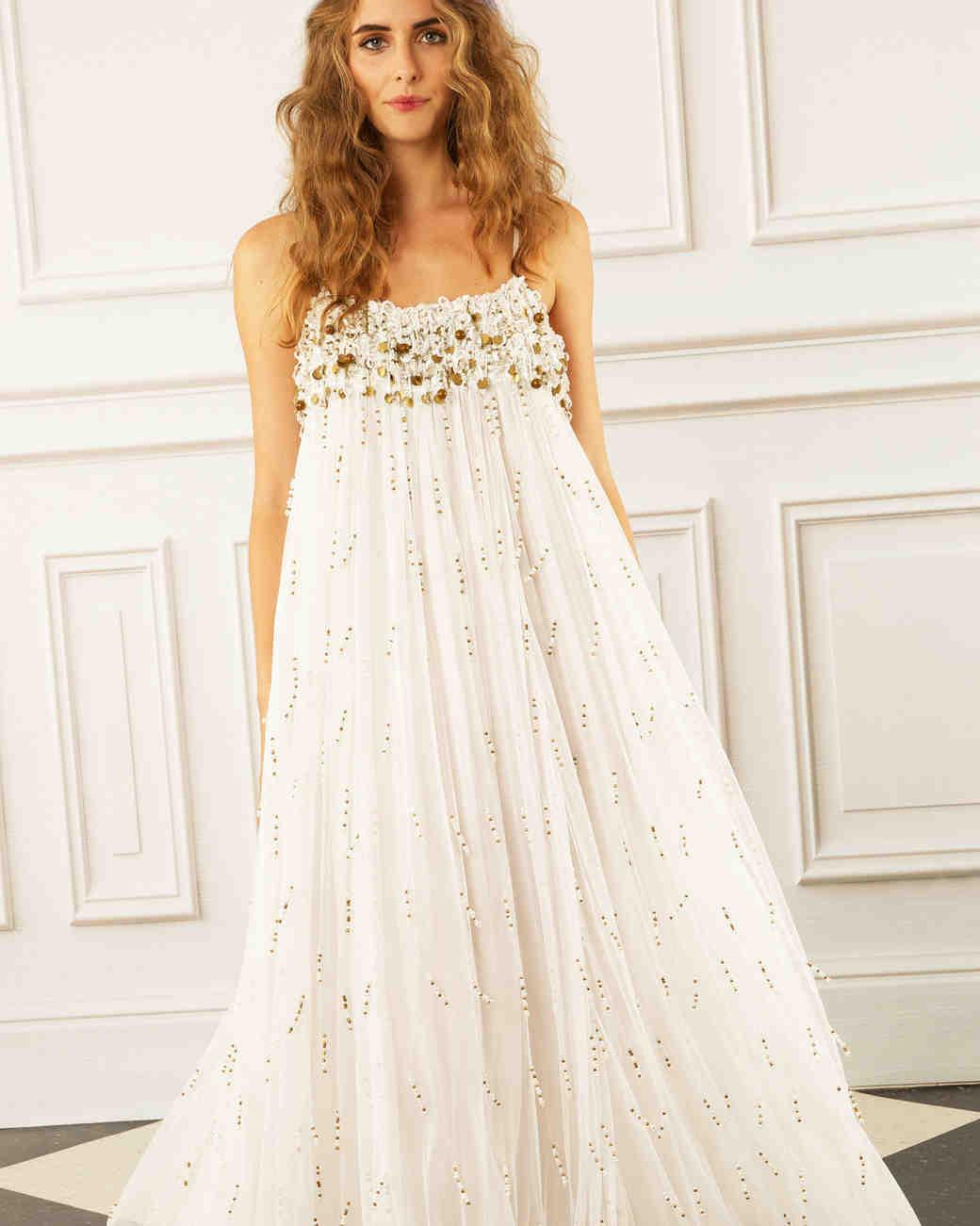 maria korovilas wedding dress spring 2017 loose metallic gold long