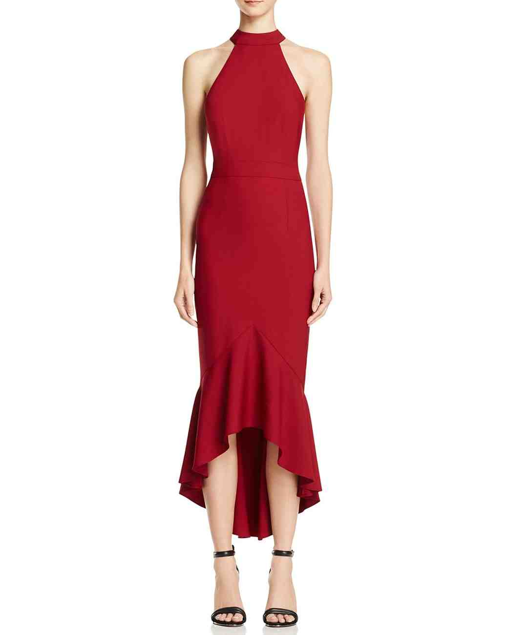 red bridesmaid dress jarlo bow back midi